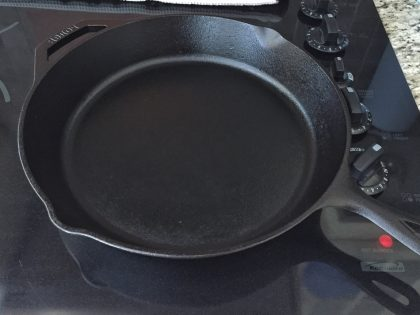 Cast iron skillet on burner